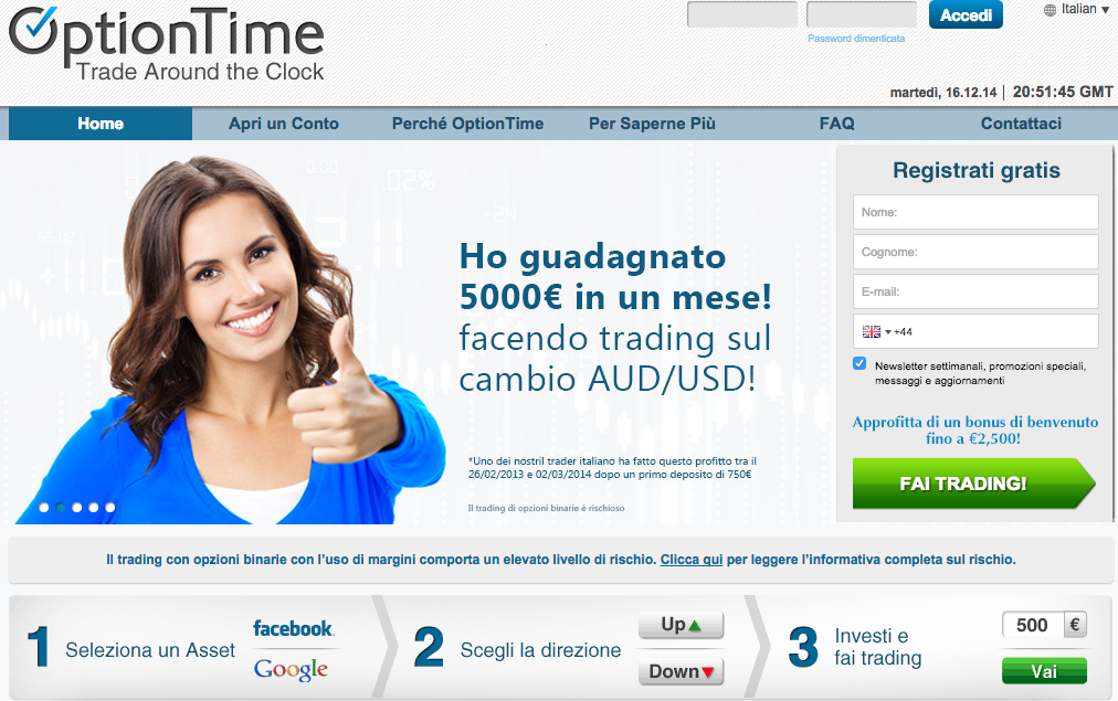 Optiontime Bonus trading